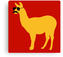 Funny llama with sunglasses and mustache Canvas Print