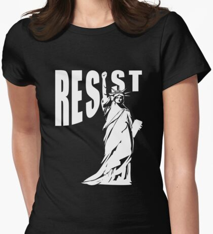 Resist Lady Liberty Womens Fitted T-Shirt