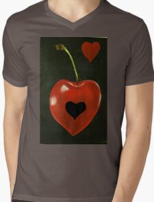 CHERRY WITH HOLE Mens V-Neck T-Shirt