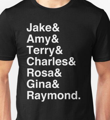 Brooklyn Nine Nine Character List (White Text) Unisex T-Shirt