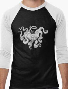 Art Against Society Tentacle Heart Skull logo WHITE Outline Men's Baseball ¾ T-Shirt