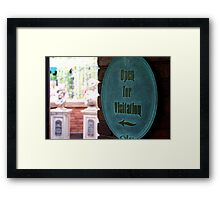 Now Open for Visitation Framed Print