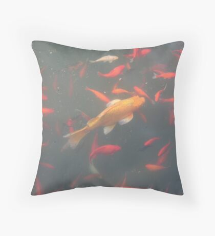 orange goldfish in the water 2007 Throw Pillow
