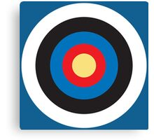 BULLS EYE, Right on target, small, on Blue Canvas Print