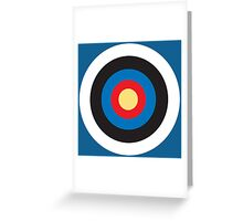 BULLS EYE, SMALL, Target, Archery, Right on target, on Blue Greeting Card