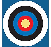 BULLS EYE, Right on target, small, on Blue Photographic Print