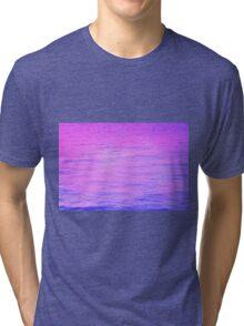 NEON PINK AND PURPLE GRADIENT OCEAN RIPPLES Tri-blend T-Shirt