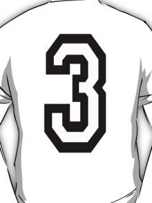 TEAM SPORTS, NUMBER 3, THREE, THIRD, Competition T-Shirt