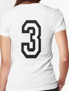 3, TEAM SPORTS, NUMBER 3, THREE, THIRD, Competition, Tri,  Triple Womens Fitted T-Shirt