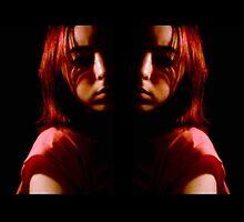 Mirror image Self Portrait in the Dark by blueclover