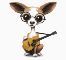 Chihuahua Puppy Dog Playing Old Acoustic Guitar Pink Kids Clothes
