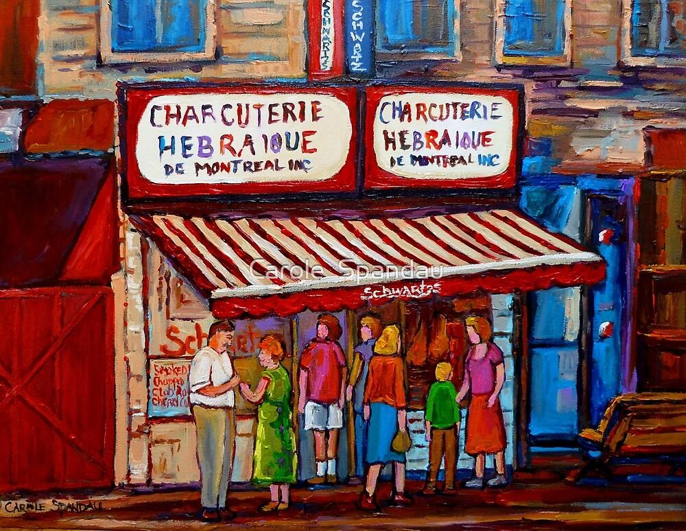 PAINTINGS OF MONTREAL STREETS SCHWARTZ'S HEBREW DELI by Carole  Spandau