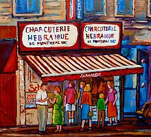 PAINTINGS OF MONTREAL STREETS SCHWARTZ'S HEBREW DELI by Carole  Spandau