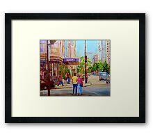 PAINTINGS OF MONTREAL STREETS HOLT RENFREW SHERBROOKE STREET Framed Print