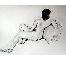Female Nude Charcoal Photographic Print