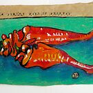 reclining paprika nudes by Evelyn Bach