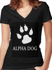 Alpha Dog paw print - white Women's Fitted V-Neck T-Shirt