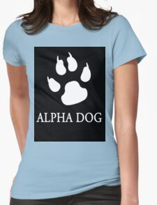 Alpha Dog paw print - white Womens Fitted T-Shirt
