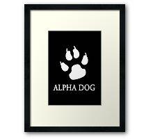 Alpha Dog paw print - white Framed Print