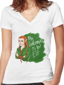 Tauriel - My Girlfriend is an Elf Women's Fitted V-Neck T-Shirt
