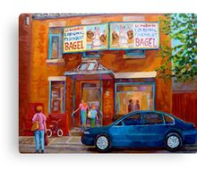 PAINTINGS OF MONTREAL FAIRMOUNT BAGEL SHOP Canvas Print