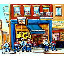 ST. VIATEUR BAGEL WITH HOCKEY GAME Photographic Print