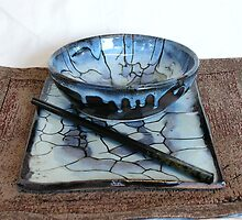 stoneware fired bowl and plate set,blue chun glaze by fatman