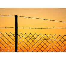 Fence at sunset Photographic Print