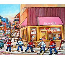 Hockey Game Near Beauty's Restaurant Photographic Print