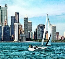 Chicago IL - Sailboat Against Chicago Skyline by Susan Savad