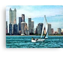 Chicago IL - Sailboat Against Chicago Skyline Canvas Print