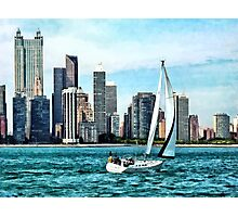 Chicago IL - Sailboat Against Chicago Skyline Photographic Print