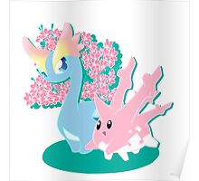 Corsola and Amaura in Spring Poster