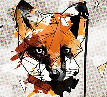 Geometric Watercolor Fox by graphicward