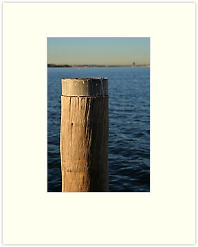 Jetty post and Swan River at dawn by Martin Pot