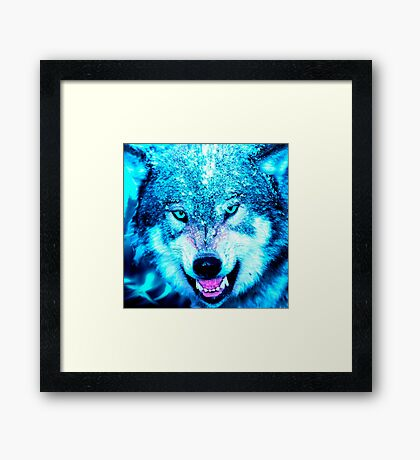 Blue wolf face Framed Print