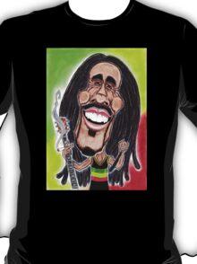 Reggae Rasta Jamaican Caricature Drawing T-Shirt