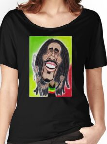 Reggae Rasta Jamaican Caricature Drawing Women's Relaxed Fit T-Shirt
