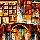 Amsterdam, Little Bridge — Buy Now Link - www.etsy.com/listing/209947985 by Leonid  Afremov