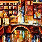 Amsterdam, Little Bridge — Buy Now Link - www.etsy.com/listing/209947985 by Leonid  Afremov