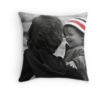 Happy Baby on a Rainy Day Throw Pillow