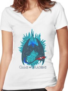 Game of Dragons - HTTYD2/GoT (With Text) Women's Fitted V-Neck T-Shirt