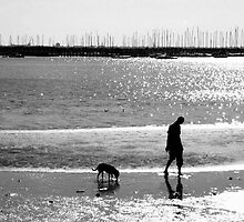A Man and his Dog B&W by Tiffany Dryburgh
