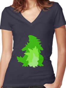 Tyranitar Evolutionary Line Women's Fitted V-Neck T-Shirt
