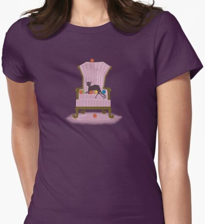 Seated Cat Womens Fitted T-Shirt