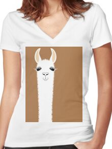 LLAMA PORTRAIT #9 Women's Fitted V-Neck T-Shirt