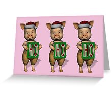 HoHoHo Three Cute Piglets Are Santa's Helper Greeting Card
