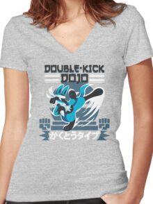 Double-Kick Dojo Women's Fitted V-Neck T-Shirt