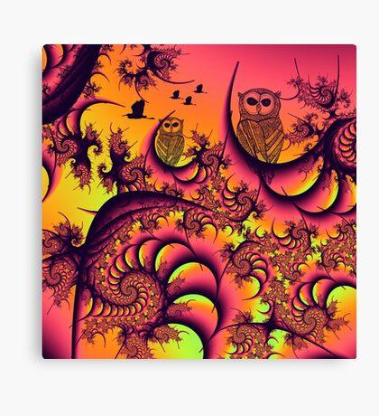 Sunset Owls Forest Canvas Print