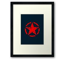 Star Stencil Vintage Jeep Decal Grunge Style Framed Print